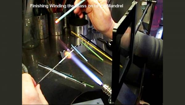 Finishing winding the glass onto the mandrel