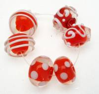 Encased Orange with White Handmade Lampwork Bead Set