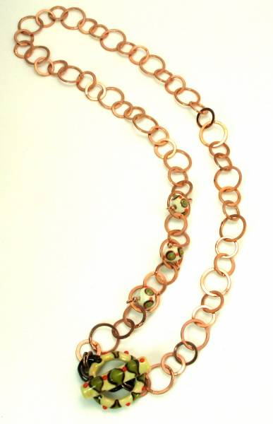Copper Chain Neckace with Small Beads and Toggle