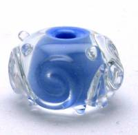 Encased Periwinkle Lampwork Bead with Scrolling