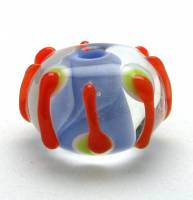 Encased Periwinkle with Orange, White, and Spring Green Accents Lampwork Bead