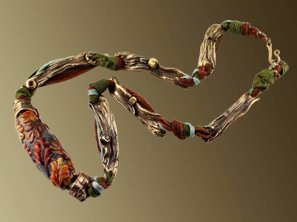 Rainforest, Jennifer Stenhouse, metalsmith and Susan Matych-Hager, lampworker